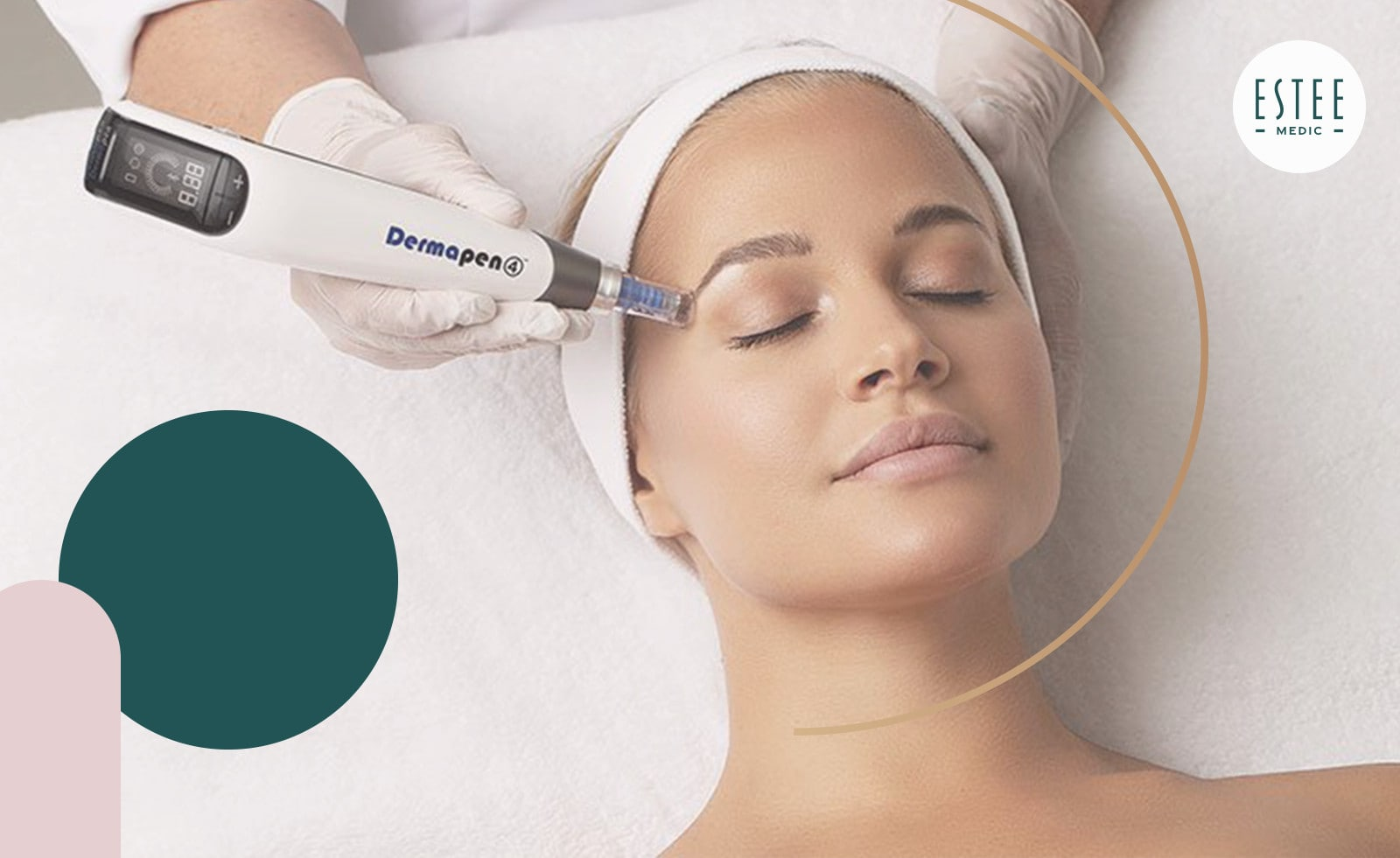 Zabieg Dermapen 4 wykonywany na skórze twarzy, w celu jej ujędrnienia, nawilżenia i zredukowania przebarwień.